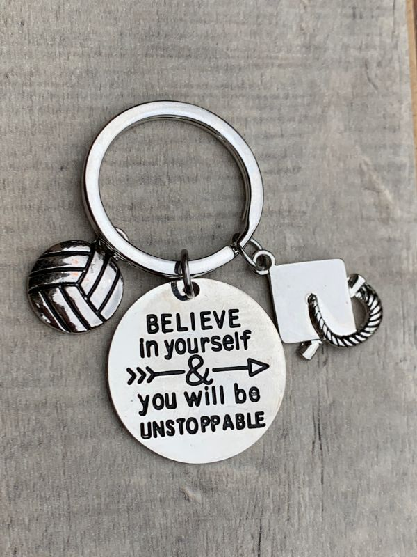 Sports Graduation Keychain -Believe In Yourself & You Will Be Unstoppable- Pick Activity