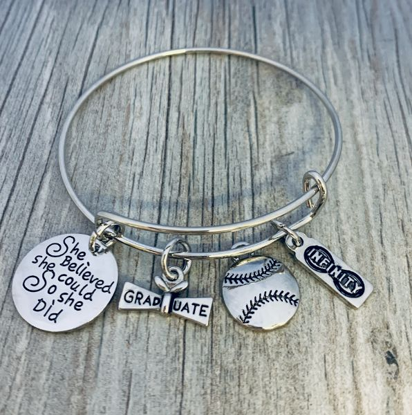 Girls softball graduation bracelet