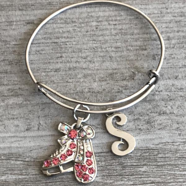 Personalized Pink Rhinestone Skating Bracelet, Figure Skating Jewelry, Ice Skate Charm Bangle, Figure Skating Gift Idea