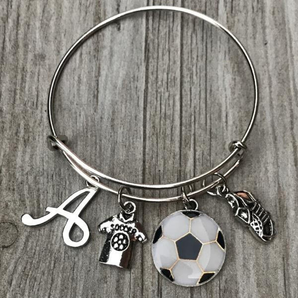 Personalized Soccer Bangle Bracelet