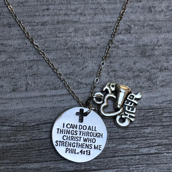 Cheer I Can Do All Things Through Christ Who Strengthens Necklace - Sportybella