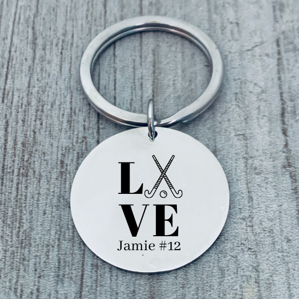 Engraved Personalized Field Hockey Keychain