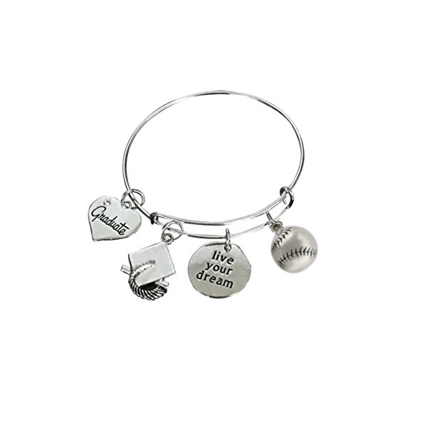 Softball Graduation Bangle Bracelet