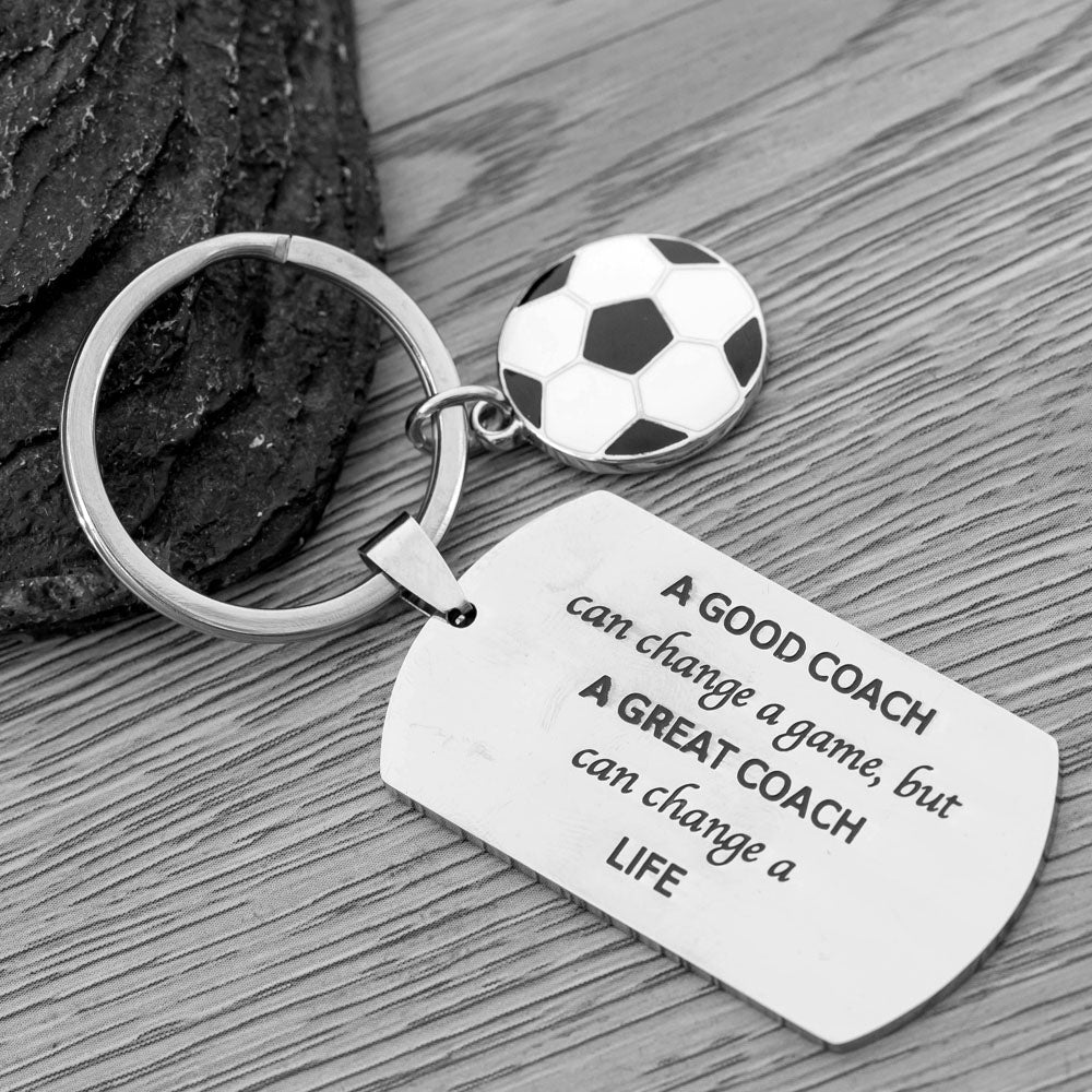 Soccer Coach Keychain, A Good Coach Can Change a Game But a Great Coach Can Change a Life Keychain