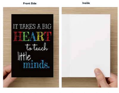 Teacher Big Heart Little Minds Keychain & Card Set