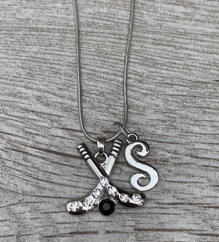 Personalized Ice Hockehy Necklace with Letter Charm