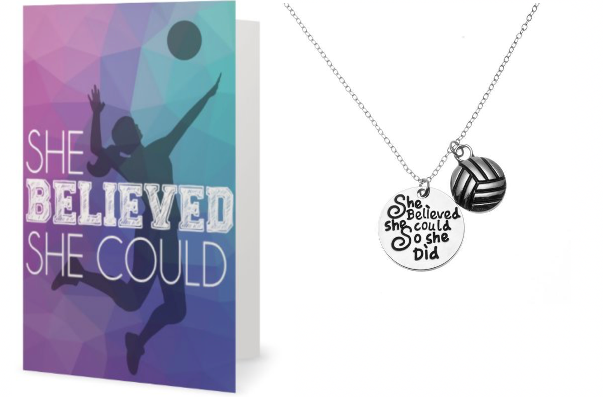 Volleyball Necklace & Card Gift Set