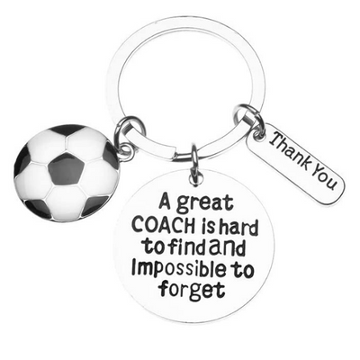 Soccer Keychain - Great Coach is Hard to Find But Impossible to Forget