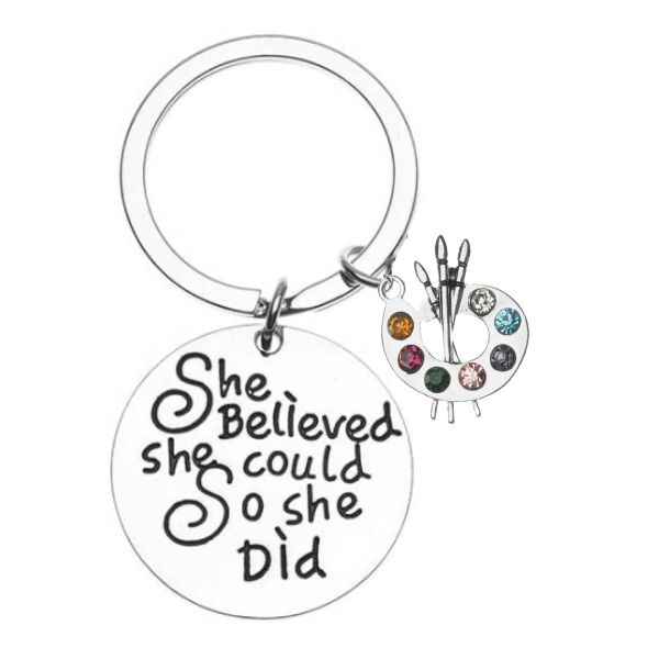 Girls Artist Paint Palette Keychain, She Believed She Could
