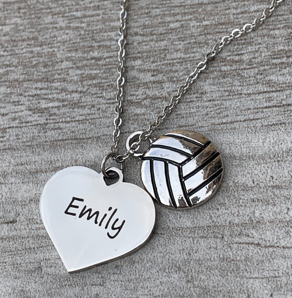 Personalized Engraved Volleyball Necklace