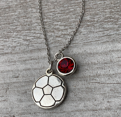 Girls Soccer Necklace with Birthstone Charm