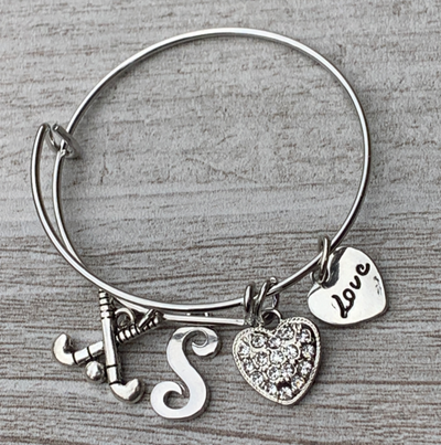 Personalized Field Hockey Bangle - Letter Charm