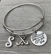 Personalized Field Hockey She Believed  Bracelet- Letter Charm