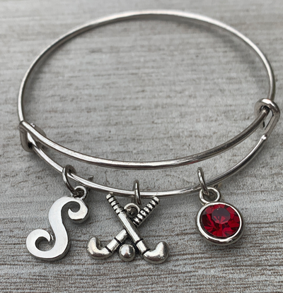 Personalized Field Hockey Bangle - Letter & Birthstone Charm