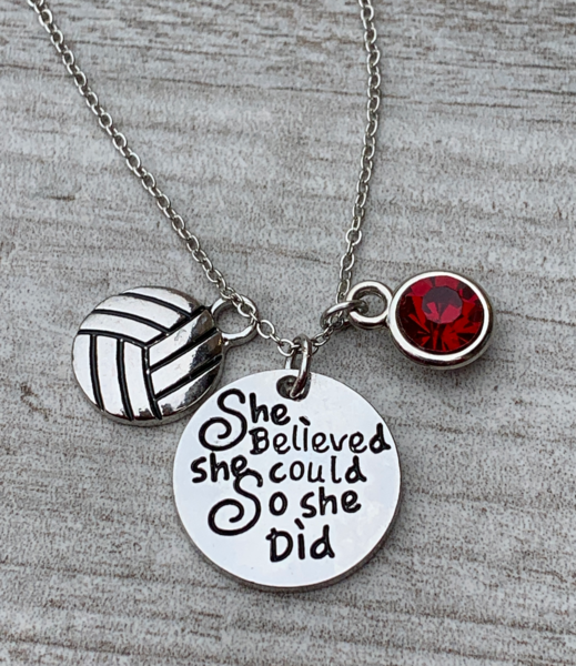 Personalized Volleyball She Believed She Could So She Did Necklace