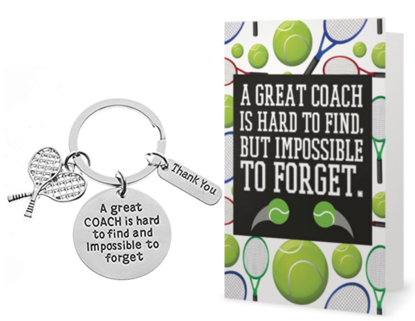 Tennis Coach Keychain & Card Set