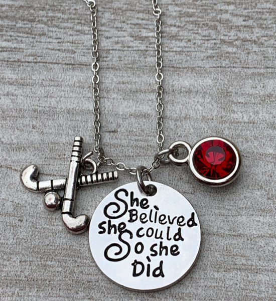 Personalized Field Hockey She Did Necklace with Birthstone Charm