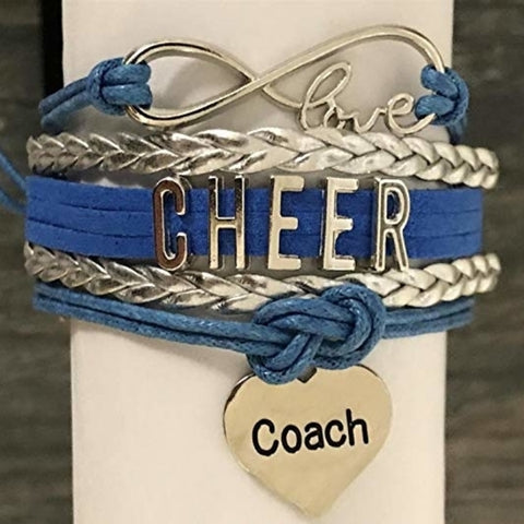 Girls Cheer Infinity Bracelet- Orange