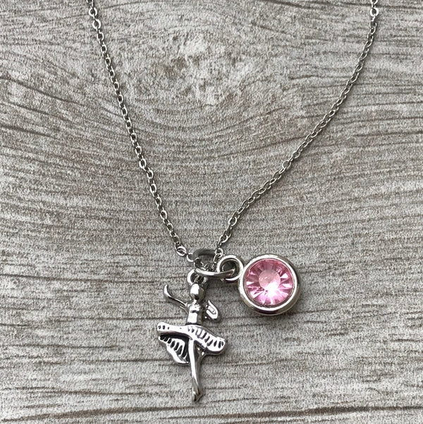 Personalized Dance Necklace with Birthstone Charm