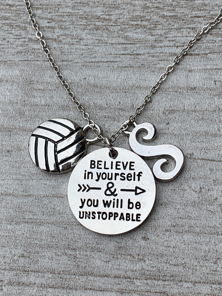 Personalized Volleyball Believe In Yourself Necklace