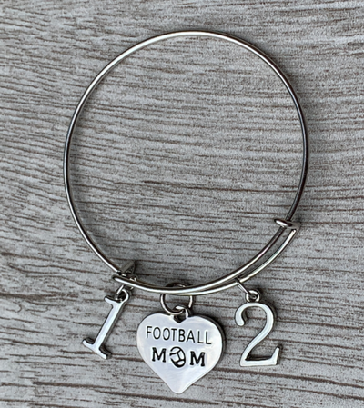 Personalized Football Mom Bangle Bracelet