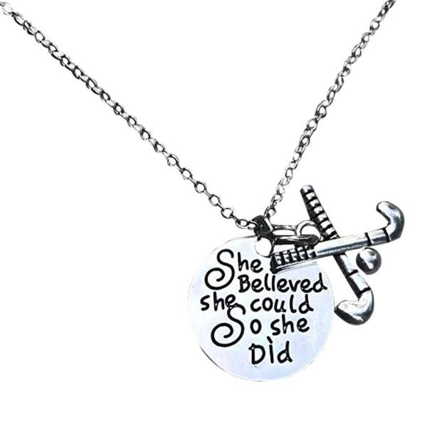Field Hockey She Believed She Could So She Did Necklace - Sportybella