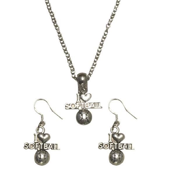 Softball Necklace & Earrings