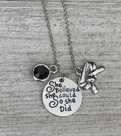 Personalized Martial Arts She Believed She Could So She Did Necklace