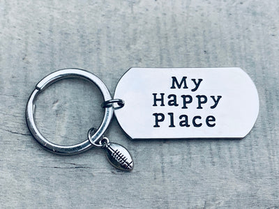 Football Keychain - My Happy Place Charm Keychain