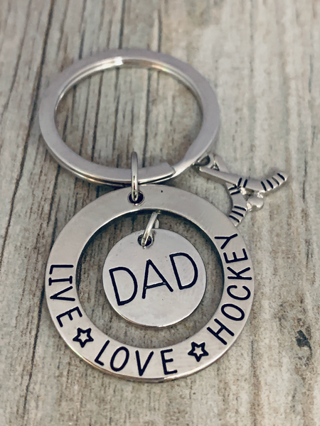 Hockey Dad Keychain - Live Love Hockey