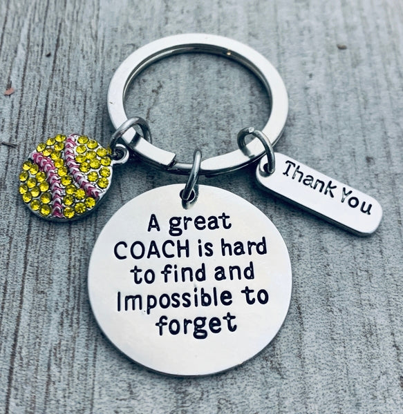 unisex Softball Coach Keychain- Great Coach is Hard to Find But Impossible to Forget