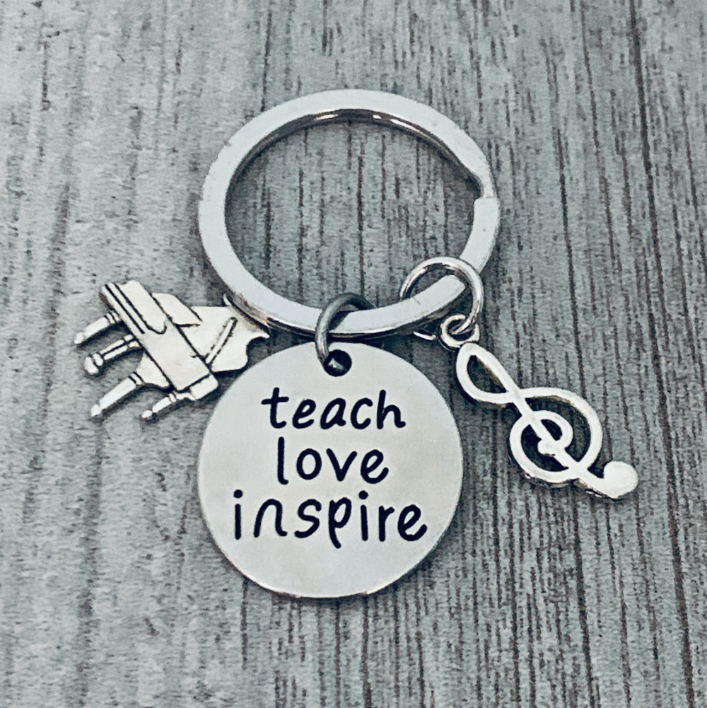 Piano Teacher Keychain- Teach, Love, Inspire