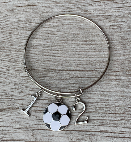Soccer Number Charm Bangle Bracelet
