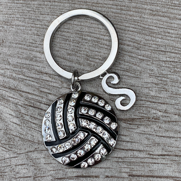 Personalized Volleyball Rhinestone Keychain with Letter Charm