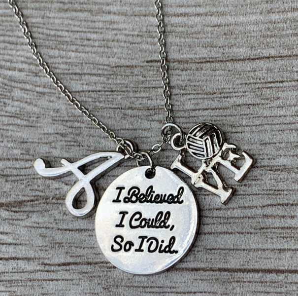 Personalized Volleyball I Believed I Could So I Did Necklace
