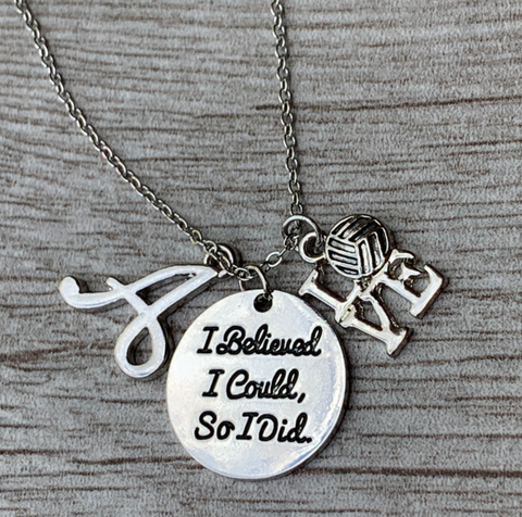 Girls Soccer She Believed She Could So She Did Necklace with Letter Charm