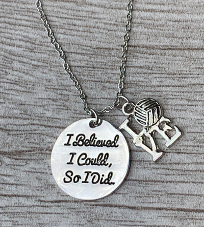 Volleyball I Believed I Could So I Did Necklace