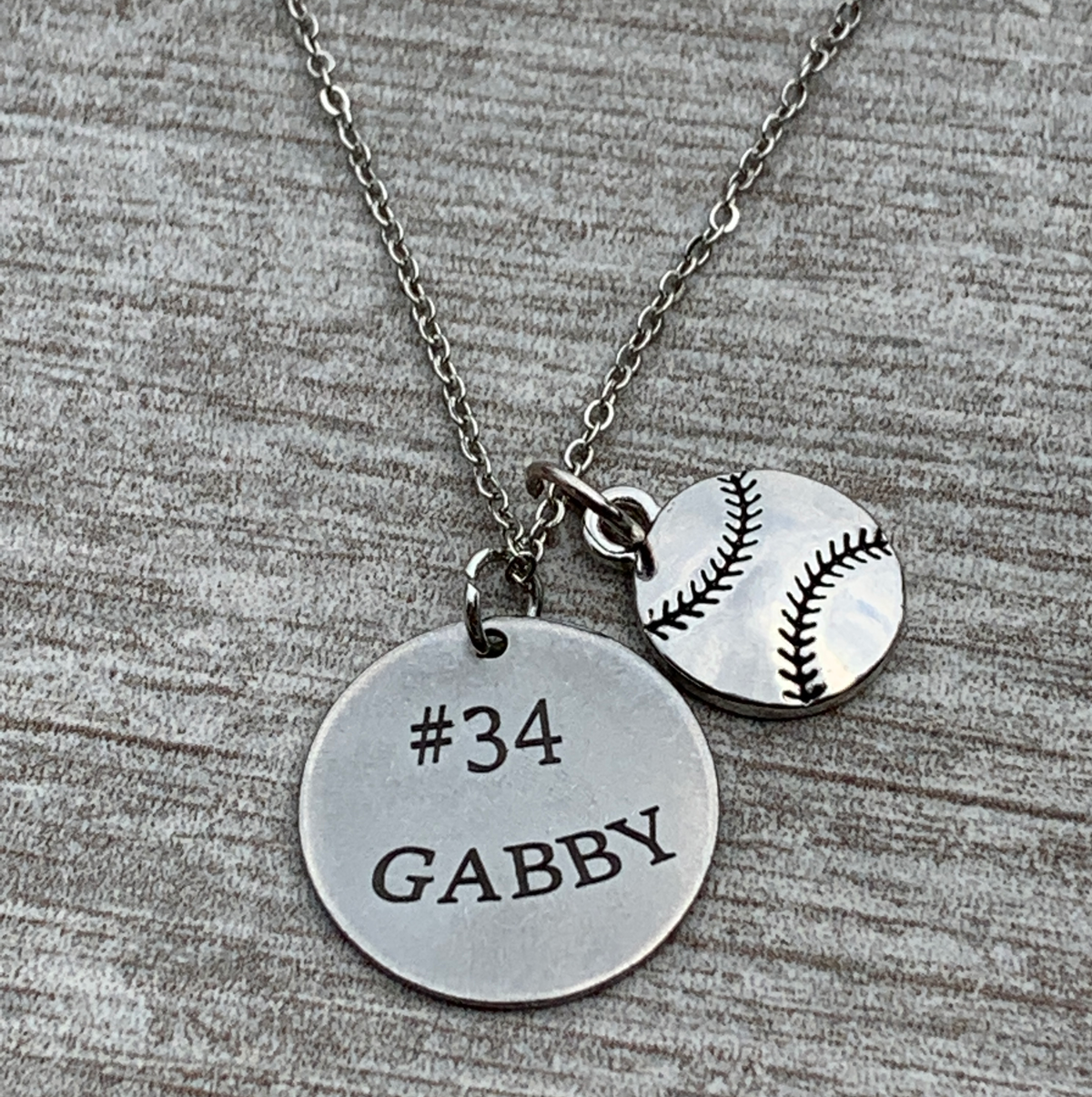 Personalized Engraved Softball Necklace