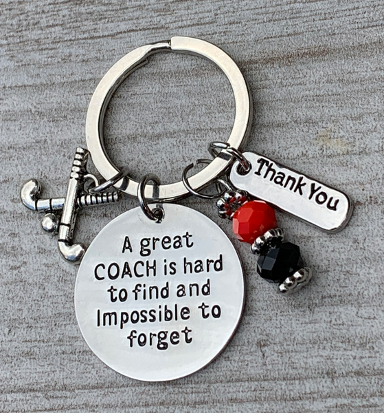 Field Hockey Great Coach is Hard to Find Beaded Keychain