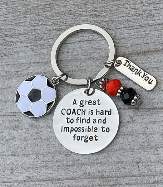 Soccer Coach Beaded Keychain, Great Coach is Hard to Find