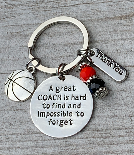 Basketball Coach Keychain - Team Colors