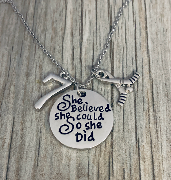 Personalized Ice Hockey She Believed She Could So She Did Charm Necklace