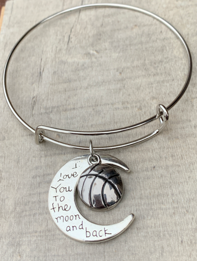 Basketball Love You to the Moon and Back Bangle Bracelet