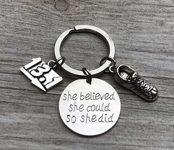 Runner 13.1 Keychain, She Believed She Could So She Did Keychain, Running Gift