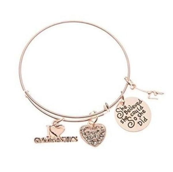 Gymnastics She Believed She Could So She Did Bangle Bracelet-Rose Gold
