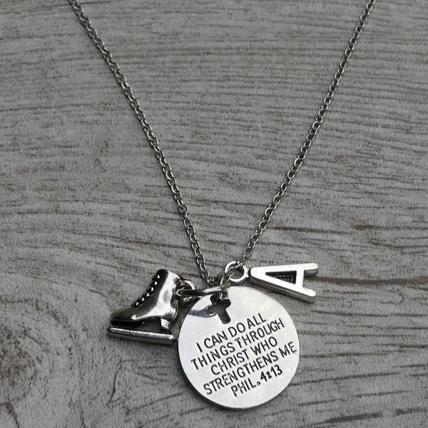 Personalized Figure Skating I Can Do All Things Through Christ Who Strengthens Me Necklace