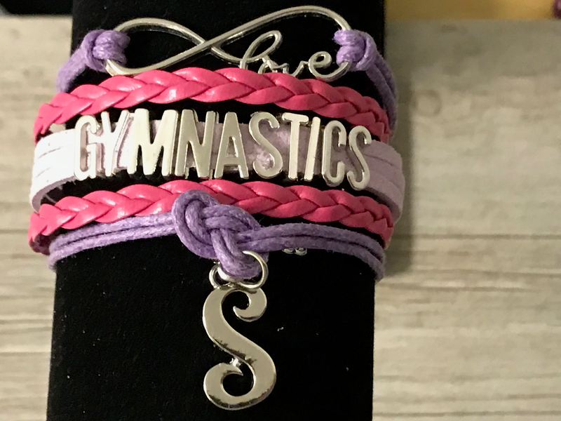 Personalized Girls Gymnastics Infinity Bracelet- Pink/Purple