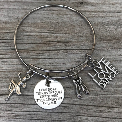 Dance Faith I Can Do All Things Through Christ Who Strengthens Me Bracelet - Sportybella