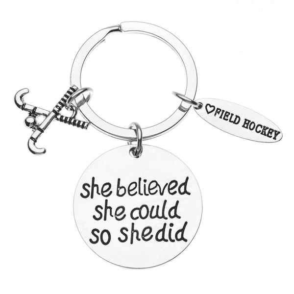 Field Hockey She Believed She Could So She Keychain - Sportybella