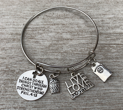 Basketball Christian Charm Bracelet, I Can Do All Things Through Christ Who Strengthens Me